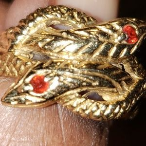 Vintage 9K Winding Whimsical of Snakes Ring